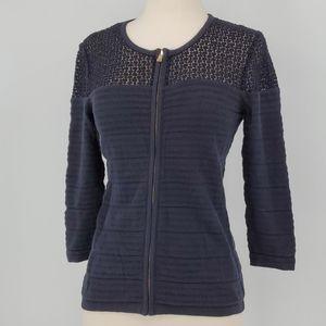 Ann Taylor Navy Crochet Zip Knit Sleeve Sweater